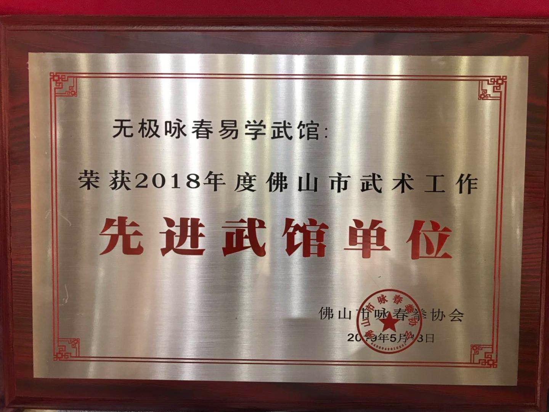 喜获一一無極詠春易學武馆荣获2018年度先进单位